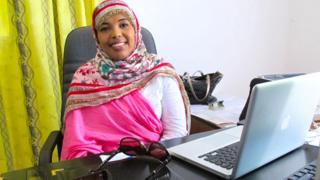 Safia Yassin Farah in her office in Mogadishu, Somalia