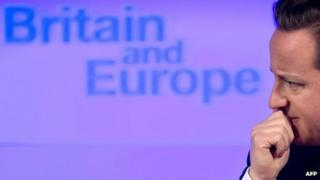 "British Prime Minister David Cameron delivers a speech on ""the future of the European Union and Britain's role within it"", in central London, on January 23, 2013."