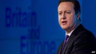 """David Cameron delivers a speech on """"the future of the European Union and Britain""""s role within it""""."""