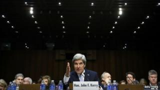 John Kerry testifies during his Senate Foreign Relations Committee confirmation hearing to be secretary of state 24 January 2013