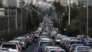Traffic jam in Athens, 25 Jan 13