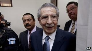 Gen Efrain Rios Montt arrives at the pre-trial hearing on 24 February 2013