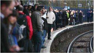 Passengers waiting for a train