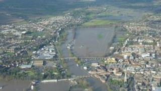Aerial view of flooding in Worcester