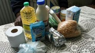 An asylum seeker food parcel