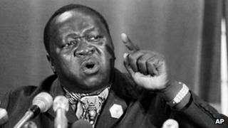 1977 photo of President of Uganda Idi Amin at a news conference at the Arab League Headquarters in Cairo, Egypt