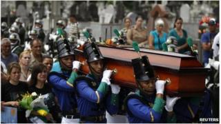 Coffin of a military doctor, victim of the blaze in a Brazilian nightclub