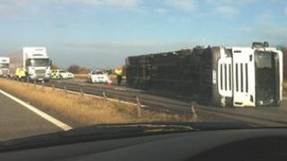 Lorry over on A1