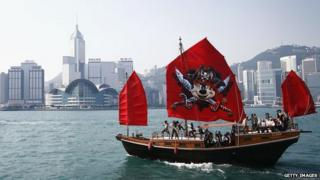 Disney Sail Pirate Ship Through Hong Kong Harbour