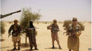 File photo of fighters from Ansar Dine, near Timbuktu, Mali, April 2012
