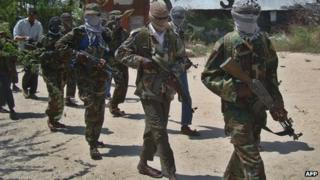 Al-Shabab fighters in Somalia (archive shot)