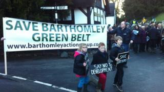 Protest over the plan for the new homes