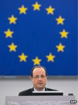 French President Francois Hollande addressing the European Parliament in Strasbourg, 5 February