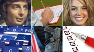 Barry Manilow, clipboard, Britney Spears, checklist, gun owner, card index
