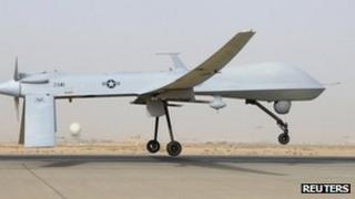 An MQ-1B Predator from the 46th Expeditionary Reconnaissance Squadron takes off from Balad Air Base in Iraq, in this file photograph taken on 12 June 2008