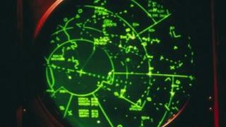 A radar screen in an Air Traffic Control tower