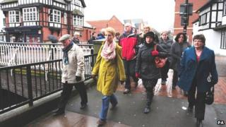 Family members on the way to the meeting in Stafford