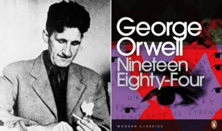Picture of George Orwell, and cover of Nineteen Eighty-Four