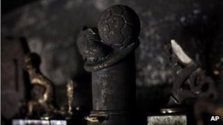 Charred trophies in the offices of Beitar Jerusalem