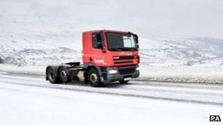 Lorry in Brecon Beacons in January