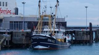Brixham registered beam trawler in St Peter Port Harbour