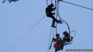 Stephen Bastiman-Davies took this picture of stranded skiers being rescued from the chair-lift