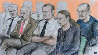The defendants in court on Tuesday 12 February