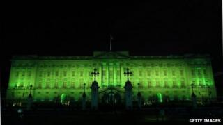 A computer mock-up of Buckingham Palace gone green