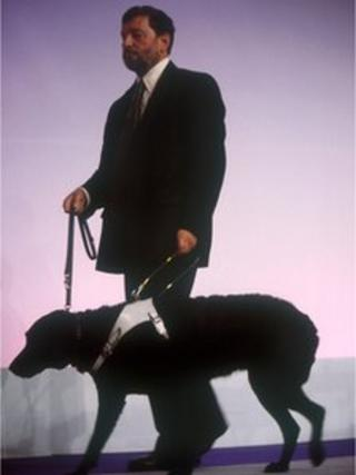 David Blunkett and his guide dog