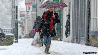 Shopper in the snow in January