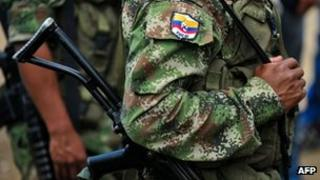 Member of the Revolutionary Armed Forces of Colombia (Farc) in Cauca (15 February 2013)