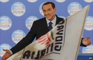 Silvio Berlusconi at a political rally