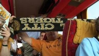 Hull City fans on a coach