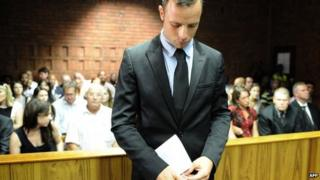 South African Olympic sprinter Oscar Pistorius on 20 February 2013 at the Magistrate Court in Pretoria, South Africa