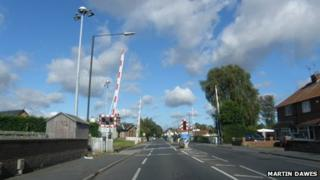 The railway level crossing on Haxby Road