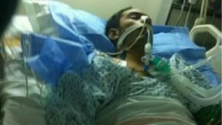 Picture from Bahrain Center 4 Human Rights said to show Mahmood Aljazeeri in a coma in hospital