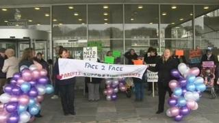 Face 2 Face supporters protesting at County Hall
