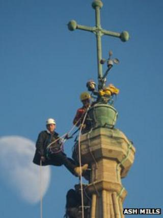 Gary Price at the top of Salisbury Cathedral's spire