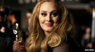Adele posing with her Oscar for best original song.