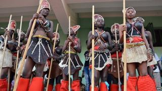 """Dancers prepare on February 23, 2013 for the opening ceremony of the Pan African Film and Television Festival of Ouagadougou (FESPACO) at the 4-Aout stadium in Burkina Faso""""s desert capital Ouagadougou."""