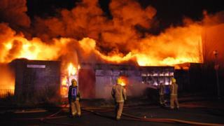 Firefighters tackle blaze
