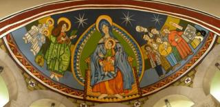The ceiling of the dome at the Santa Eulalia church in l'Hospitalet, painted by graffiti artists