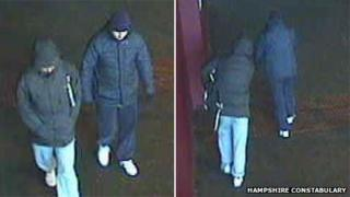 CCTV images of the men police want to speak to in connection with an armed robbery at Wonderland nightclub in Basingstoke