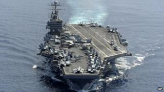 USS Abraham Lincoln transits the Indian Ocean January 2012