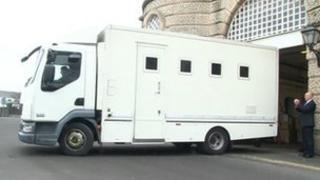 Prison van leaves HMP Shrewsbury for last time