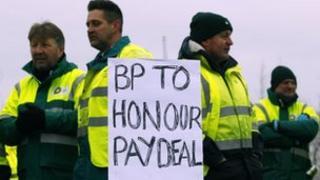 Striking tanker drivers at Grangemouth at the weekend