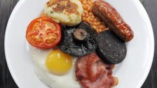Black pudding on a breakfast plate
