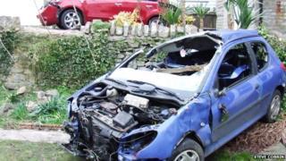 Two damaged cars
