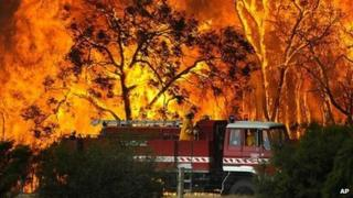 A fire engine moves away from a bushfire in the Bunyip State Forest near the township of Tonimbuk (7 February 2009)