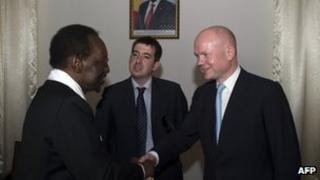 William Hague shakes hands with Malian president Dioncounda Traore